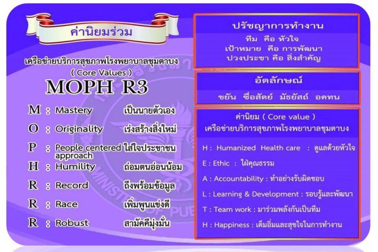 ค่านิยมร่วม MOPH R3